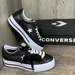Converse One Star Platform OX Leather black/white